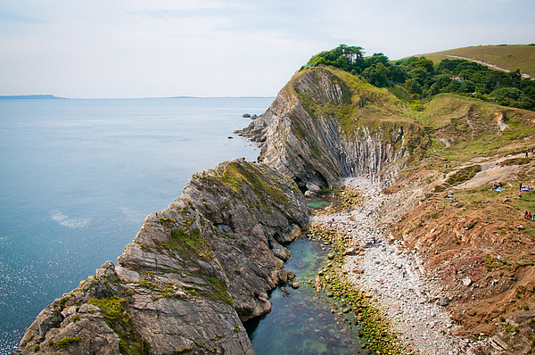 Dorset Photograph - West Lulworth Lagoon The Natural Lagoon Behind The Jurassic Cliffs West Of Lulworth Cove Dorset by Andy Smy