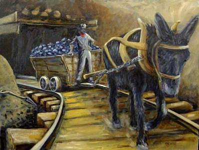 Miner Painting - Western Pa Black Gold by Chuck Percherke
