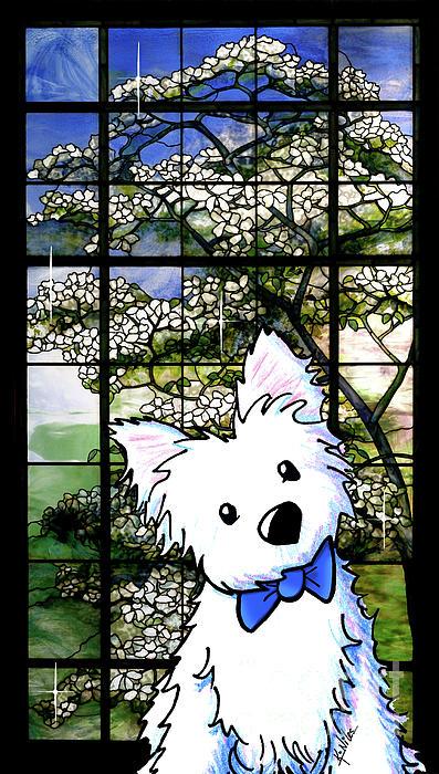 Westie Mixed Media - Westie At Dogwood Window by Kim Niles