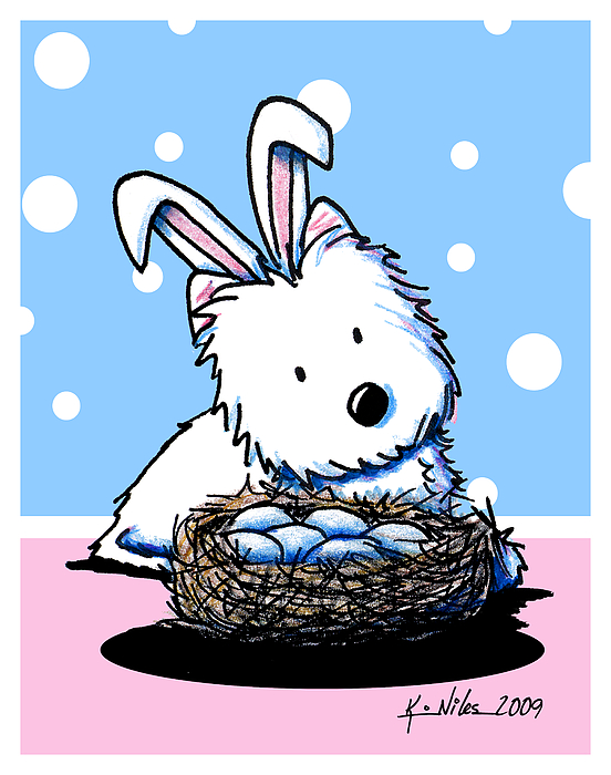 Easter Drawing - Westie Easter Rabbit by Kim Niles