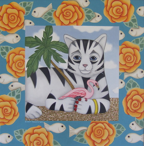 Cat Painting - What Happens On The Beach-stays On The Beach by Arlene Salamendra