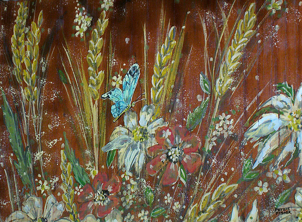 Flowers Painting - Wheat n Wildflowers I by Phyllis Mae Richardson Fisher