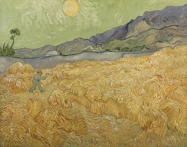 Wheatfield Painting - Wheatfield With Reaper by Vincent Van Gogh