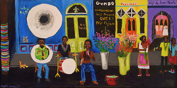 New Orleans Painting - When Pigs Flew In Nola by Angela Annas
