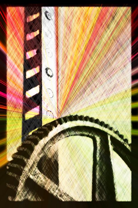 Arthur V. Kuhrmeier Digital Art - When Rack And Pinion Spark -- Zahnstangenfunkel by Arthur V Kuhrmeier
