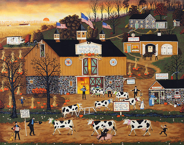 Americana Painting - When The Cows Come Home by Joseph Holodook