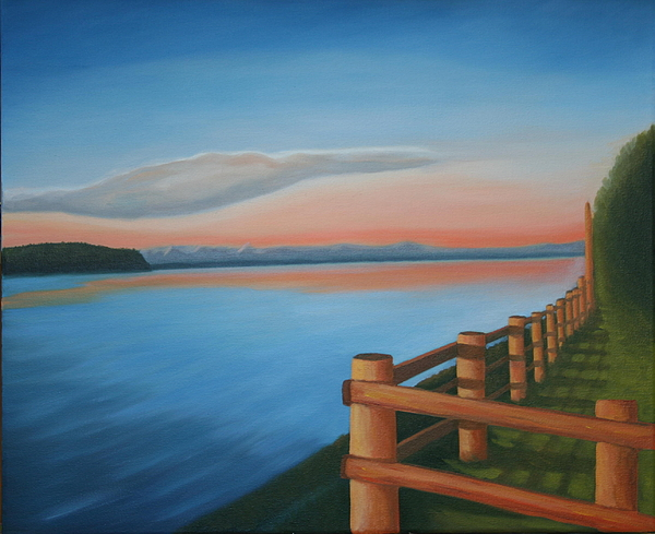 Seascape Painting - Whidbey Island Sunset by Stephen Degan