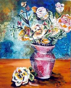 Roses Mixed Media - Whimsical Bouquet by Amanda  Sanford