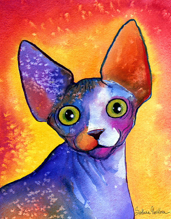 Sphynx Cat Picture Painting - Whimsical Sphynx Cat Painting by Svetlana Novikova
