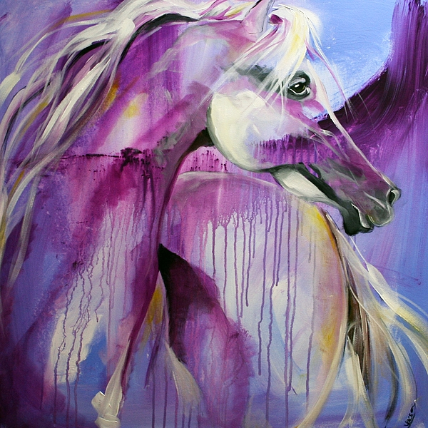 Abstract Horse Paintings Painting - White Arabian Nights by Laurie Pace
