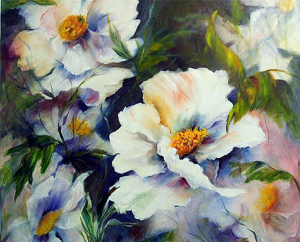 Oil Painting - White Beauties by Elaine Bailey