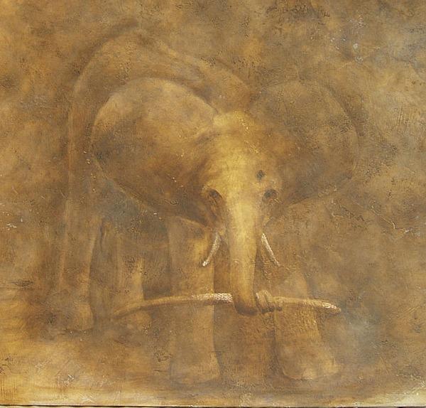 Elephant Painting - White Bone by Lori Le Mare