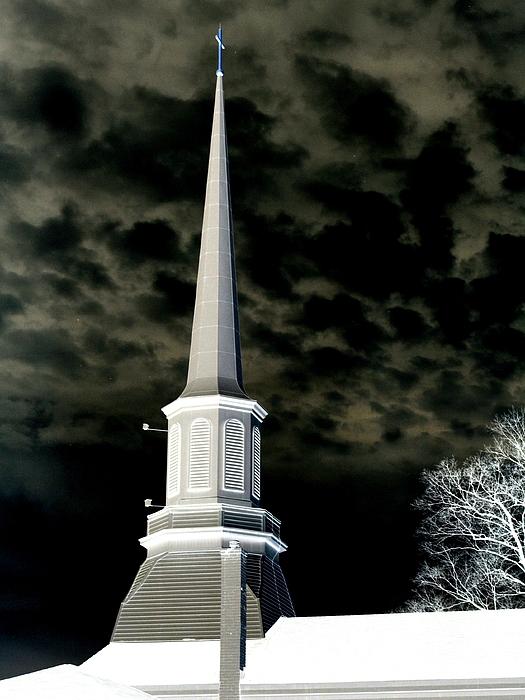 Church Photograph - White Cross Dark Skies by Joshua House