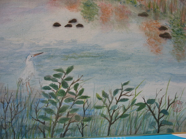 Bird Painting - white Egret by Gerry Fong