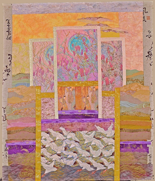 Quilt Tapestry - Textile - White Egrets With Magnolies by Roberta Baker