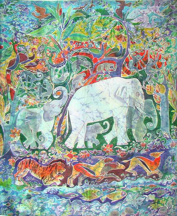 Impressionism Painting - white Elefant  by Chagorova Tanja