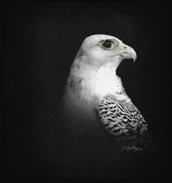 Gyr Digital Art - White Gyr On Black by Kathie Miller
