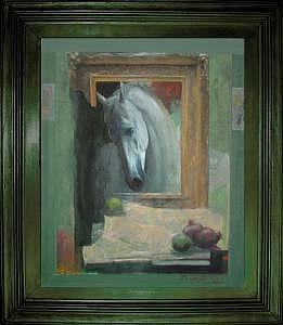 Artist Painting - White Horse by Boro Ivetic