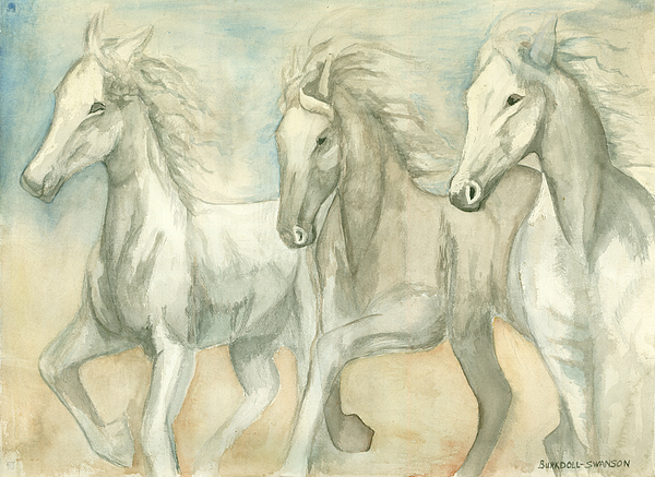 White Horses Painting - White Horses by Delores Swanson