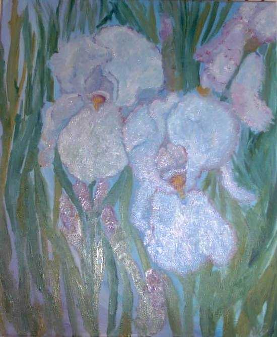 White Painting - White Iris by Norah Joy Clydesdale