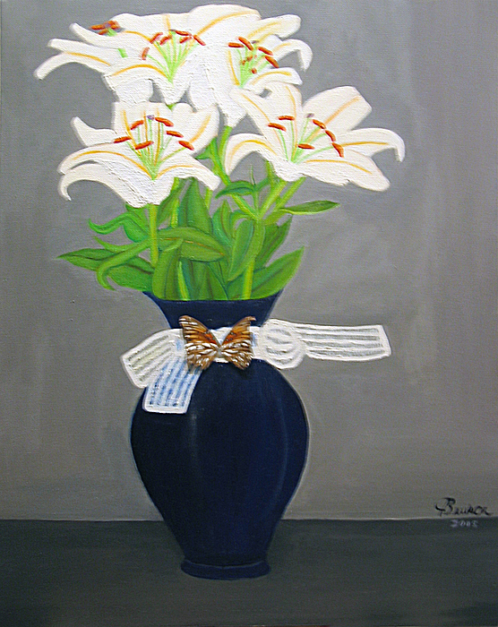 White Lillies In A Blue Vase Painting by Jody Brusca