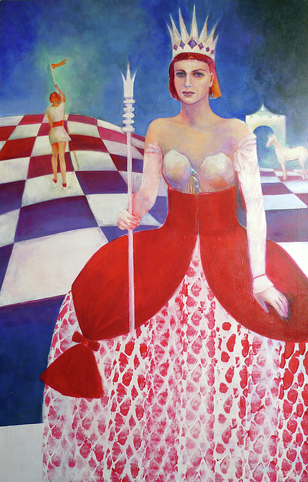 Chess Painting - White Queen by Elena Bardina