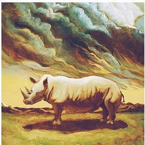 White Rhino Painting by Steven Donnini