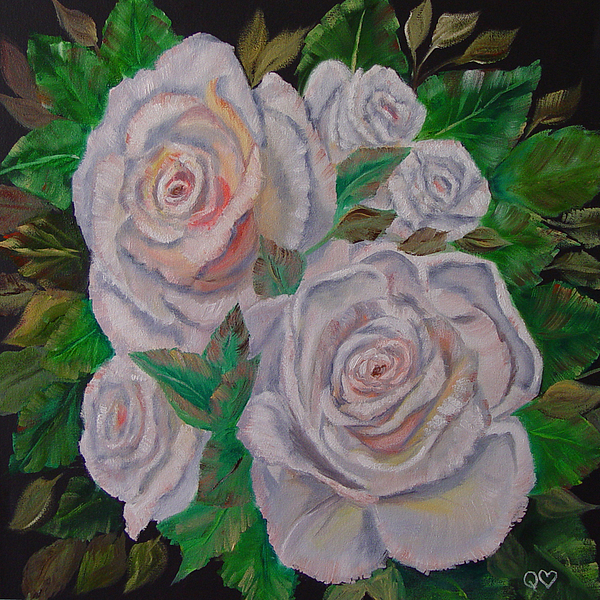 Roses Painting - White Roses by Quwatha Valentine