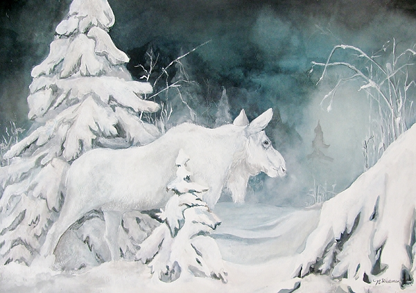Moose Painting - White Spirit Moose by Nonie Wideman