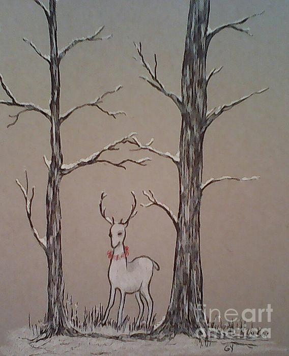 Stag Drawing - White Stag by Ginny Youngblood