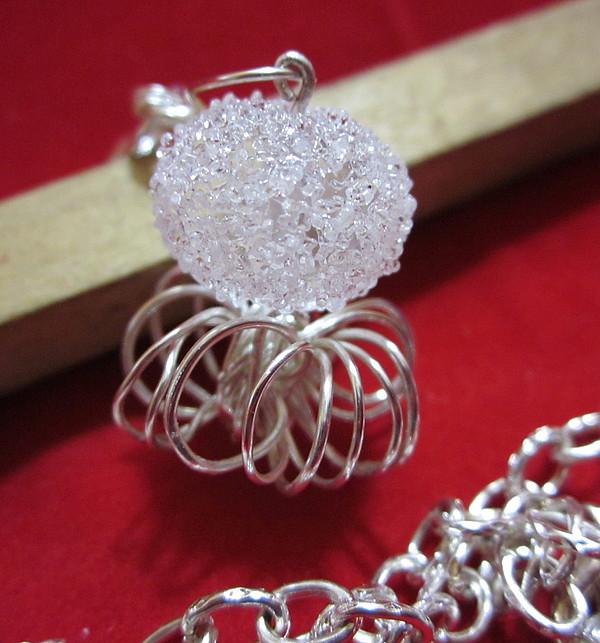 Lampwork Bead Jewelry - White Sugar Bead Necklace by Janet  Telander