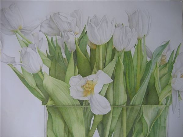 Tulips Drawing - White Tulips by Henny Adank