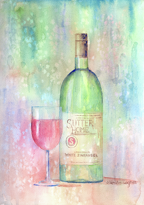 Wine Painting - White Zinfandel by Arline Wagner