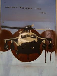 Helicopter Painting - Whos Watching You by S Preston Duncan