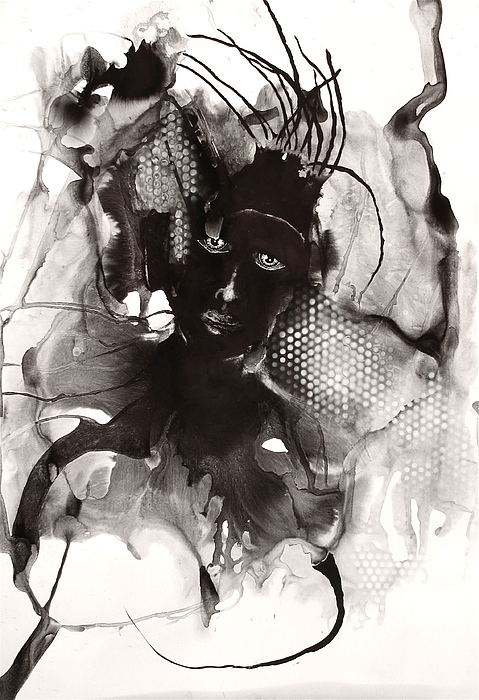 Ink Painting - why by Lydie Dassonville