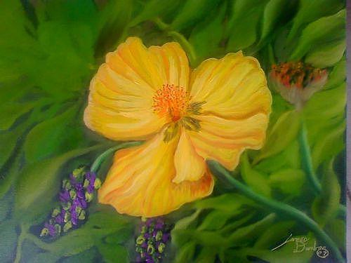 Wild Flowers Number 2 Orange Sunshine Painting by Portland Art Creations