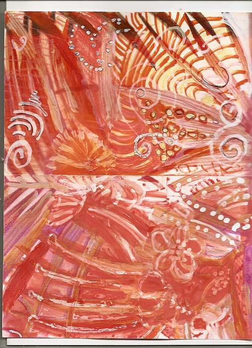 Red Painting - Wild Hot Right Brain Synapse Connections by Anne-Elizabeth Whiteway