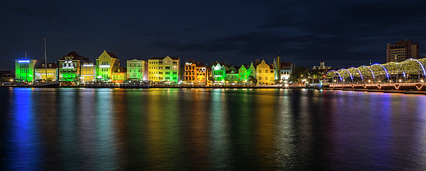 3scape Photograph - Willemstad And Queen Emma Bridge At Night by Adam Romanowicz