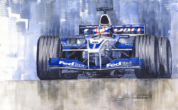 Watercolour Painting - Williams Bmw Fw24 2002 Juan Pablo Montoya by Yuriy  Shevchuk