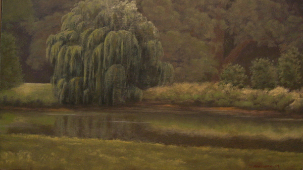 Landscape Painting - Willow In Forest Park  by David Menendez