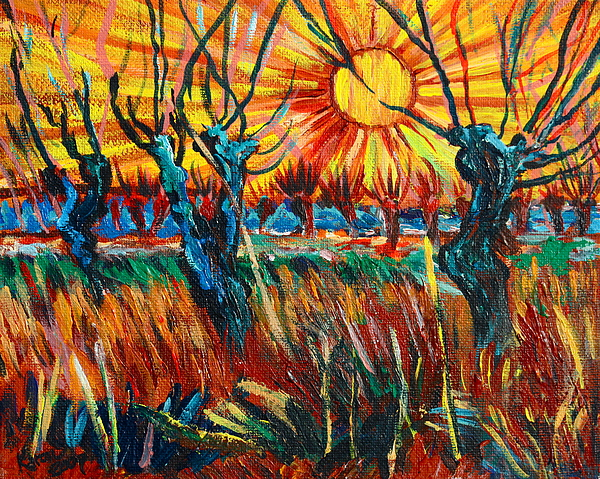 Van Gogh Painting - Willows At Sunset - Study Of Vincent Van Gogh by Karon Melillo DeVega
