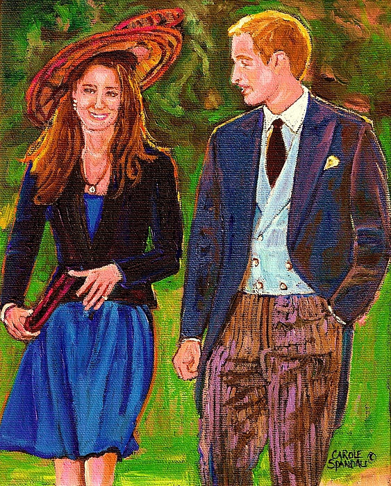 Wills And Kate Painting - Wills And Kate The Royal Couple by Carole Spandau