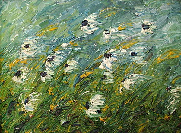 Flowers Painting - Wind Swept Daisies by Robert Laper