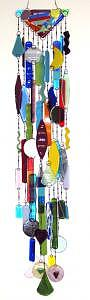 Large Multi Colored Fused Glass Wind Chime With Many Shapes Glass Art - Windchime by Bobbie Matus