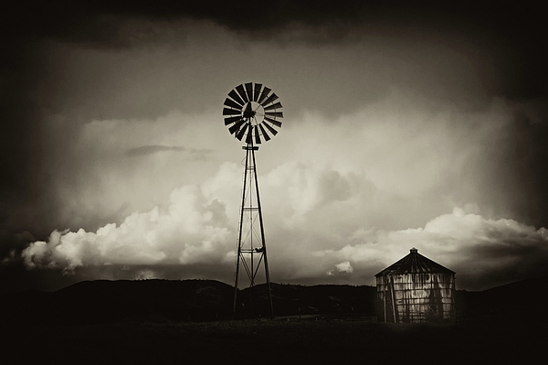Clouds Photograph - Windmill And Tank by Gus McCrea