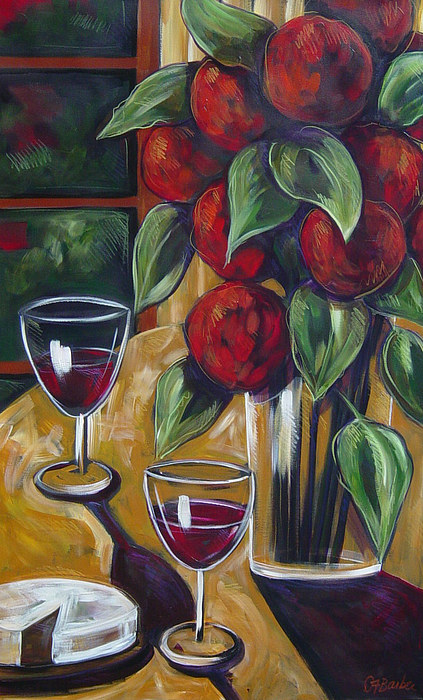 Still Life Painting - Wine And Cheese by Diane Barbee