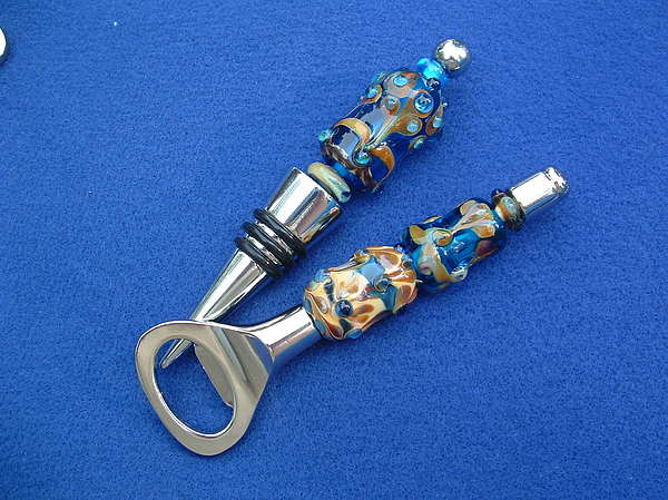 Glass Beads Beadables Glass Art - Wine Botter Stopper And Bottle Opener by Amelia Drennan