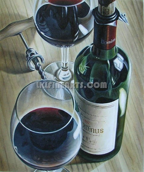 Portrait Painting Painting - Wine Bottle Still Life Painting by Artist