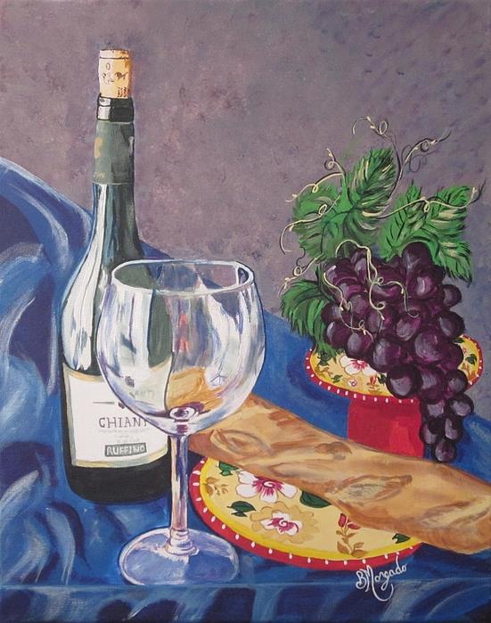 Wine Bread And Grapes Painting By Brenda Morgado