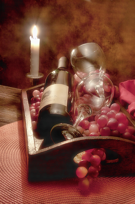 Alcohol Photograph - Wine By Candle Light II by Tom Mc Nemar